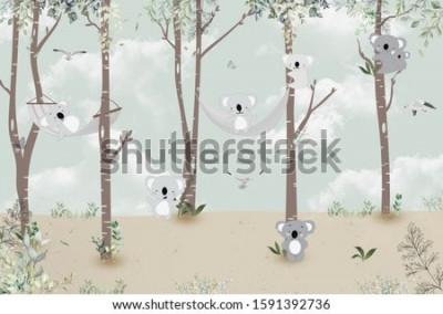 Adesivo Cute koalas playing in the jungle