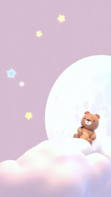 Adesivo Cute little bear watching beautiful night sky with stars in front of the white full moon. 3d rendering picture. (Vertical)