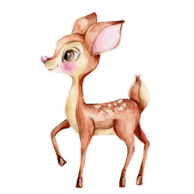 Adesivo Cute little deer; watercolor hand draw illustration; with white isolated background