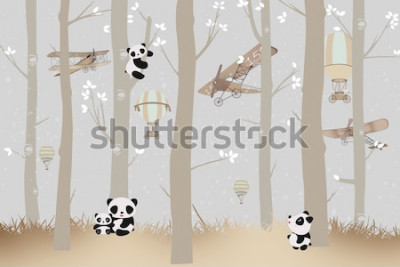Adesivo cute pandas playing in the forest wallpaper