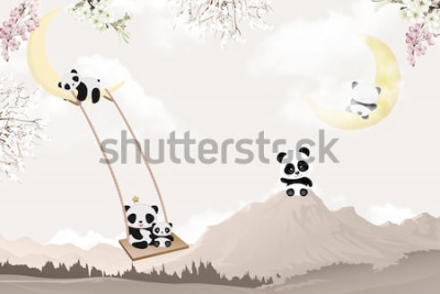 Adesivo cute pandas playing kids room wallpaper design