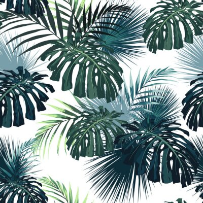Adesivo Dark tropical leaves with jungle plants. Seamless tropical pattern with green palm and monstera leaves. White background.