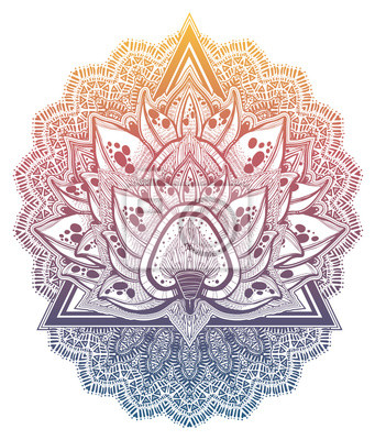 Adesivo Decorative blossoming lotus flower. Hand drawn element in ethnic oriental, Indian style.