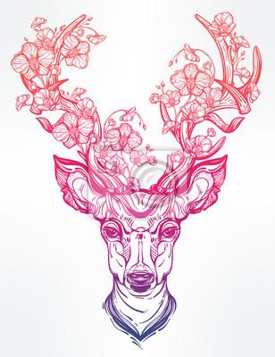 Adesivo Deer Head con fiori in stile art linea.