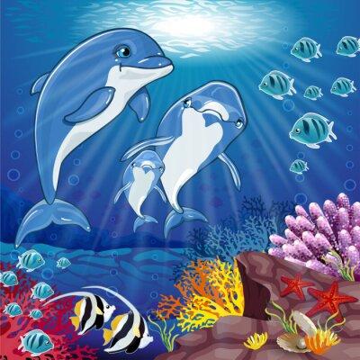 Adesivo Delfini sul fondo del mare
