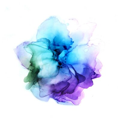 Adesivo Delicate hand drawn watercolor flower in blue and violet tones. Alcohol ink art. Raster illustration.