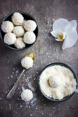 Adesivo deliziosa homamade cioccolato bianco e cocco palle caramelle