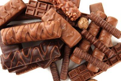 Adesivo Deliziose barrette di cioccolato con le noci close up