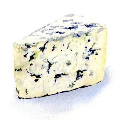 Adesivo delizioso formaggio muffa su uno sfondo bianco