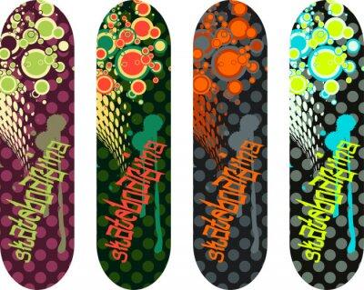 Adesivo Design Confezione di vettore skateboard con tag graffiti e forme astratte
