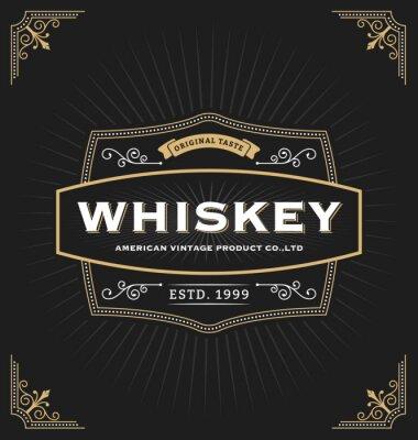 Adesivo design del telaio d'epoca per le etichette, banner, logo, emblema, menu, adesivo e altri design. Adatto per il whisky, birra, caffè, hotel, resort, gioielli e prodotto premium. Tutti i tipi utilizzare