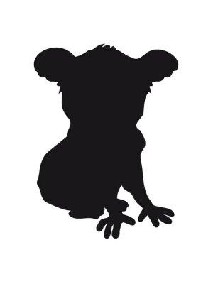 Adesivo Design koala sagoma nera raffreddare seduta fumetto ombra contorno