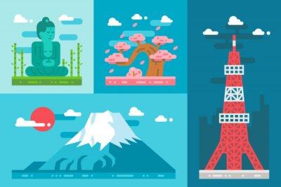 Adesivo design piatto punti di riferimento Giappone impostati