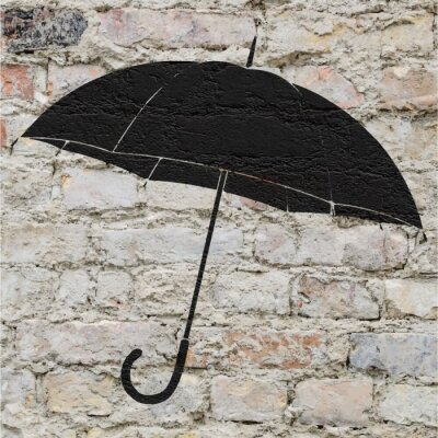 Adesivo Dessin d'un parapluie sur un mur