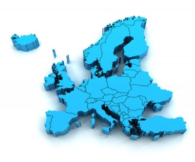 Adesivo Detail Europe map with national borders