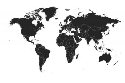 Adesivo Detailed, high resolution, accurate vector map of the world