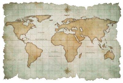 Adesivo di età compresa tra mappa del mondo isolato su bianco