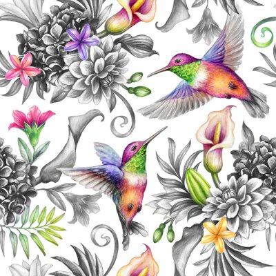 Adesivo digital watercolor botanical illustration, seamless floral pattern, wild tropical flowers, humming birds, white background. Paradise garden day. Palm leaves, calla lily, plumeria, hydrangea, gerber