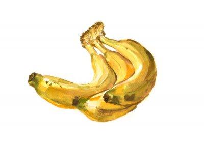 Adesivo dipinto a mano Acquarello illustrazione di un banane