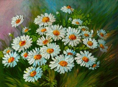 Dipinto ad olio - abstract illustrazione di fiori, margherite ...