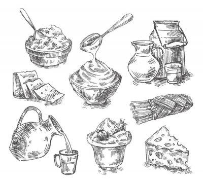 Adesivo disegnata a mano prodotti lattiero-caseari, latte, formaggio. schizzo