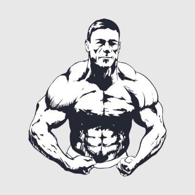Adesivo Disegnati a mano uomo muscoloso - Bodybuilder