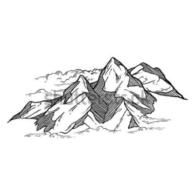 Adesivo disegnato a mano di montagne iluustration vettoriale