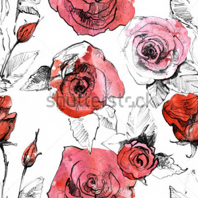 Adesivo Disegni a matita, modello senza cuciture disegnato a mano del fiore realistico della rosa rossa dell'acquerello. Illustrazione di pittura di arte botanica. Design vintage per album da disegno, dia