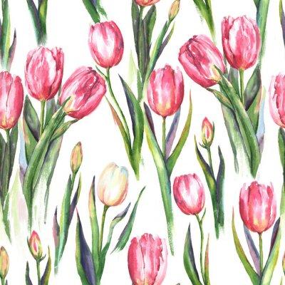 Adesivo Disegno a mano senza soluzione di continuità acquerello con fiori di tulipano rosa e bianco. Stampa molle ripetuta per la tessile, carta da parati. Tender e bellissimo sfondo