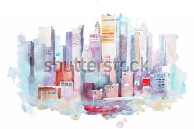 Adesivo disegno ad acquerello del paesaggio urbano di New York, Stati Uniti d'America. Manhattan pittura ad acquerello