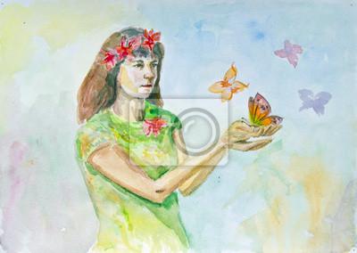 Adesivo Disegno ad acquerello di una ragazza con le farfalle