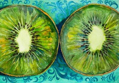 Adesivo Disegno di un acquerello su carta, frutta, kiwi