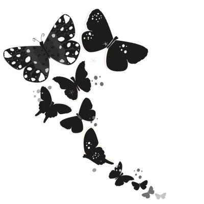 Adesivo disegno farfalla in bianco e astratto fiori decorativi vettore sfondo