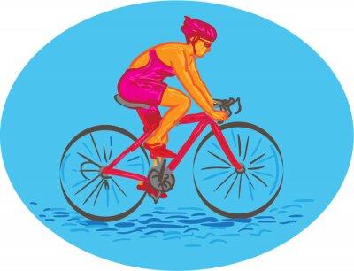 Adesivo Disegno femminile Ciclista di guida del ciclista