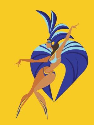Adesivo disegno geometrico piatto di ballare samba regina
