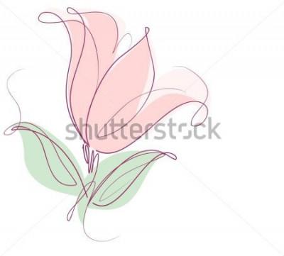 Adesivo Disegno grafica vettoriale con motivi floreali con tulipani per il design. Disegno naturale del fiore floreale. Grafica, disegno schizzo. tulipano.