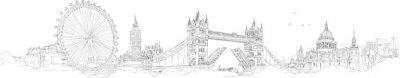 Adesivo disegno vettoriale disegno a mano silhouette panoramica London