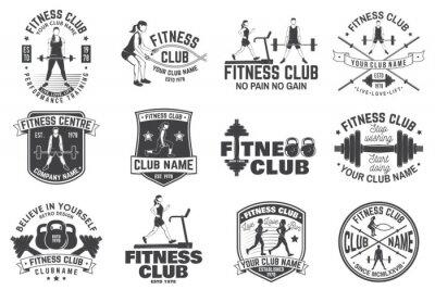 Adesivo Distintivi del fitness club. Vettore. Per emblemi di centri fitness, cartelli da palestra e altri.