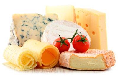 Adesivo Diversi tipi di formaggio isolato su sfondo bianco
