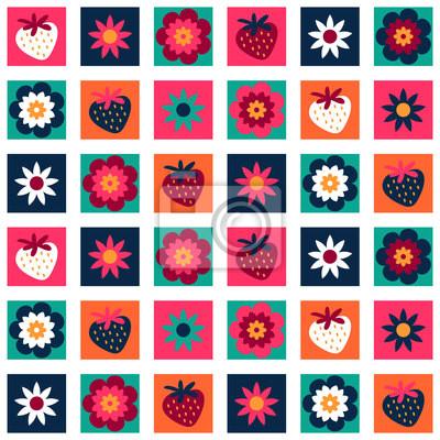 Adesivo Dolce modello colorato senza soluzione di continuità con fiori e fragole
