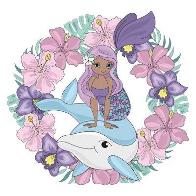 Adesivo DOLPHIN WREATH Floral Mermaid Cartoon Underwater Sea Ocean Cruise Travel Tropical Animal Vector Illustration Set for Print Fabric and Decoration