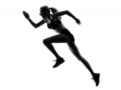 Adesivo Donna corridore jogger in esecuzione il jogging silhouette