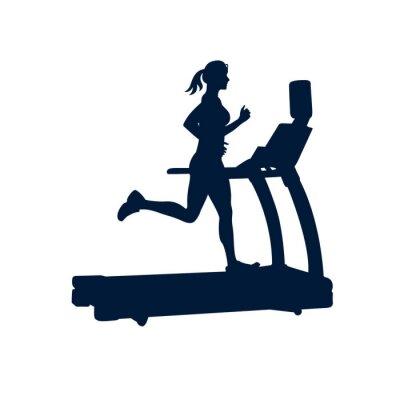 Adesivo donna facendo esercizi sul tapis roulant, su sfondo bianco,