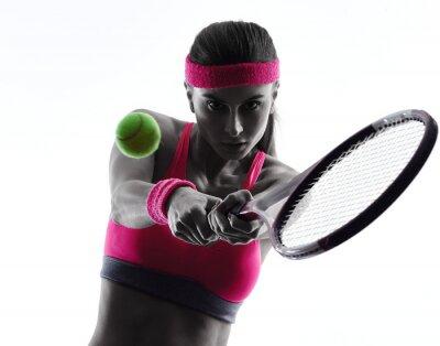 Adesivo donna giocatore di tennis ritratto silhouette