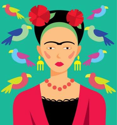 Adesivo donna messicana nel trucco, illustrazione vettoriale. Personaggi dei cartoni animati.
