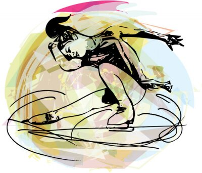Adesivo donna pattinatore pattinaggio su ghiaccio al palazzetto dello sport colorato