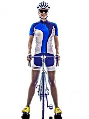 Adesivo donna triathlon ironman atleta ciclista in bicicletta