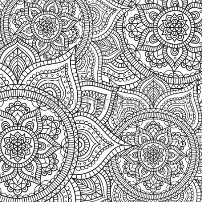 Adesivo Doodle pattern with ethnic mandala ornament. Black and white illustration. Outline. Coloring page for coloring book.