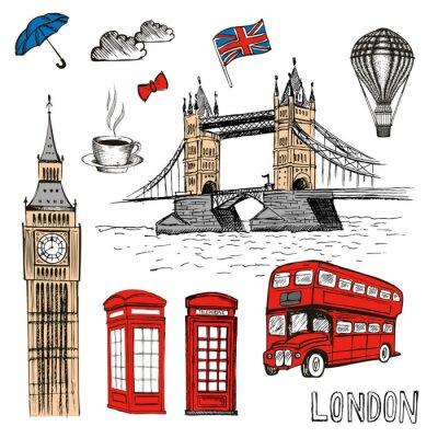 Adesivo Doodles di Londra. Illustrazione disegnata a mano di vettore con i simboli di Londra