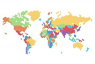 Adesivo Dotted World map of hexagonal dots